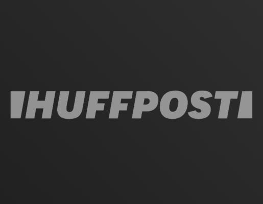Huffington Post logo on dark gradient background