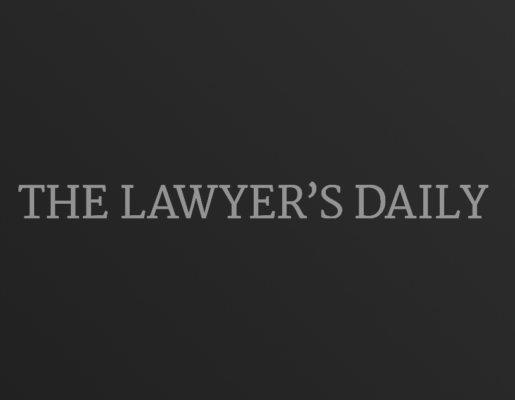 The Lawyer's Daily logo on dark gradient background